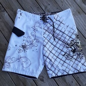 Maui and sons mens white board shorts swim trunks
